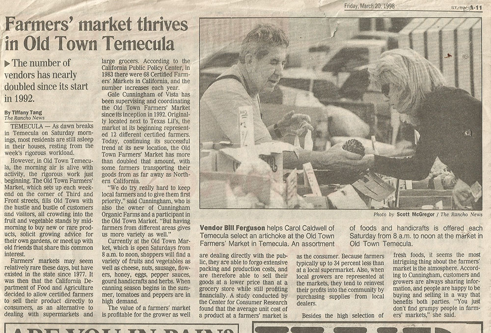 Farmers' Market Thrives in Old Town Temecula - Press Enterprise