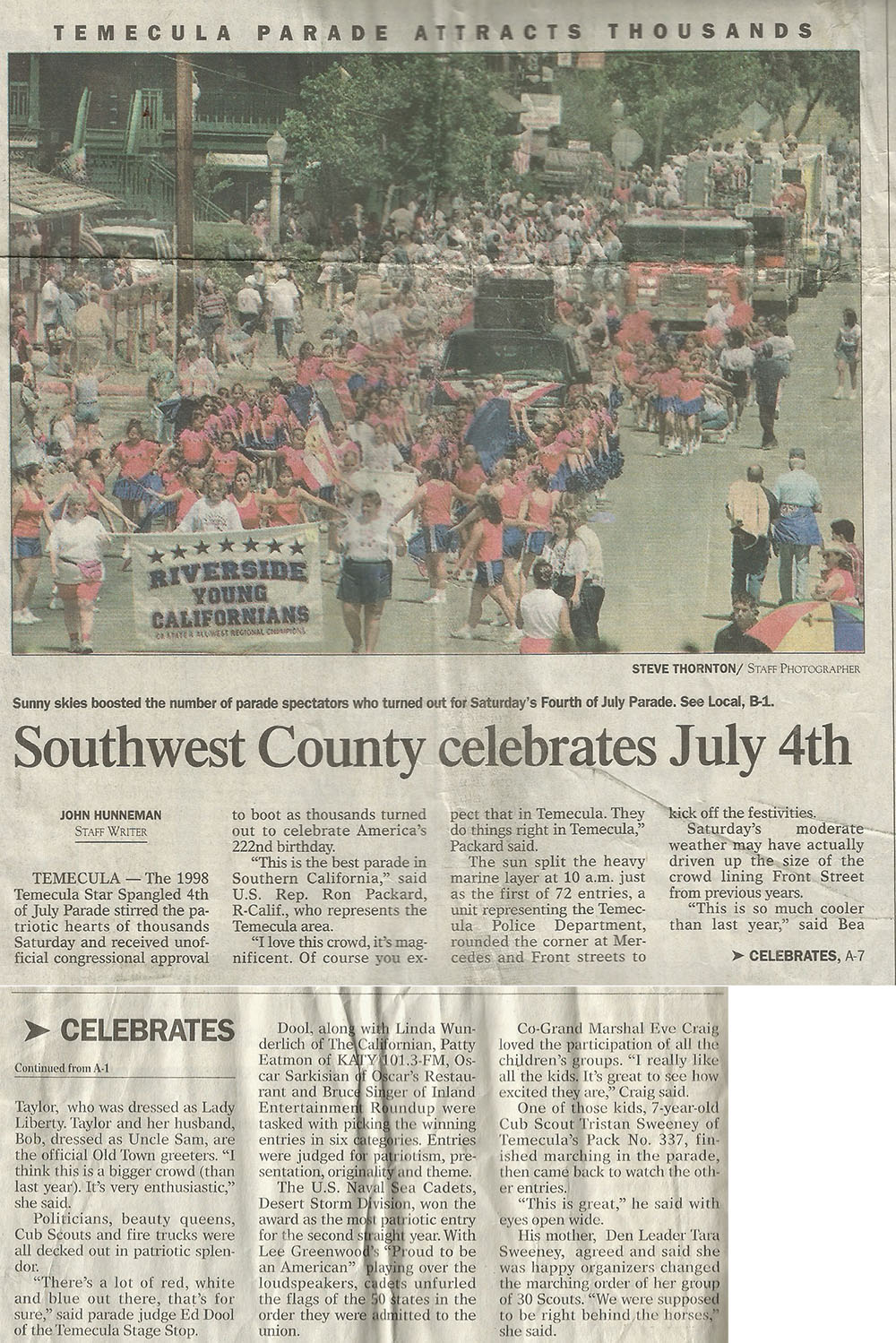 Temecula Parade Attracts Thousands - The Californian - July 1998